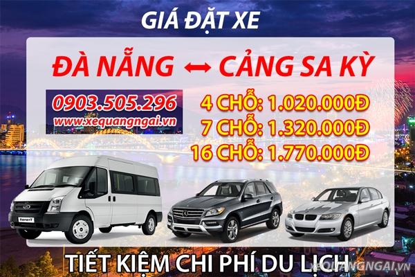 bảng giá xe đà nẵng - cảng sa kỳ