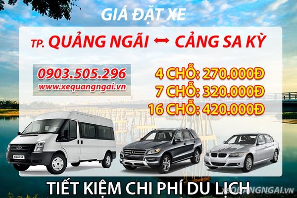 Bảng giá xe Thành phố Quảng Ngãi - Cảng Sa Kỳ